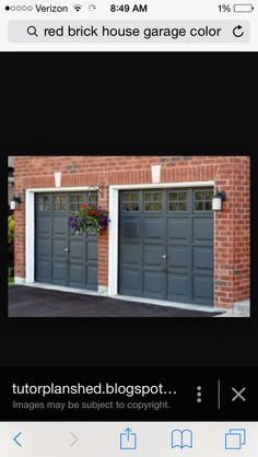 garage door color ideas for orangebrick house - Dark Red Brick Homes