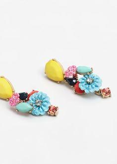Flower pendant earrings -  Women | MANGO USA