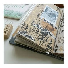 TRAVEL JOURNAL Inspiration... I'm in love with amazing journals and art sketchbooks since I can remember... Now,  ADORING this beautiful page where you can literally feel like you were travelling with her to that forest... Gorgeous Journal!