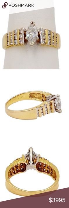 14K Gold Marquise Diamond Ring w/ side Diamonds. THIS GORGEOUS RING .....14K Gold Marquise Diamond Ring w/ side Diamonds. 25 total diamonds - 1.09 CT & 2.8 dwt. SIZE 8. This 14k gold ring features a marquis diamond of 0.56 carats SI2 in clarity and F-G in color. There are 12 channel set round diamonds on each side 0.53 ctw SI1-SI2 in clarity and G-H in color. Diamonds evaluated & verified by an independent gemologist. Report sent with purchase. 14K Gold Jewelry Rings