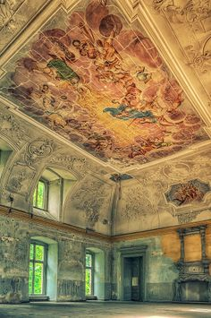 Pinner: Oh my goodness! The beautiful art and architecture brings tears to my eyes to think that someone could walk away from this abandoned palace in Poland. Abandoned Buildings, Abandoned Castles, Old Buildings, Abandoned Places, Haunted Places, Beautiful Architecture, Beautiful Buildings, Art And Architecture, Classical Architecture