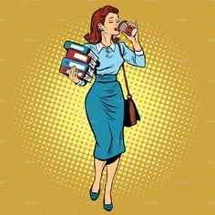 Buy Business Woman Drinking Coffee On The Go by studiostoks on GraphicRiver. Business woman drinking coffee on the go, pop art retro vector illustration. Businesswoman with reports and documents Coffee Illustration, Woman Illustration, Pop Art Girl, Up Girl, Coffee Drinks, Drinking Coffee, Coffee Coffee, Desenho Pop Art, Ladies Lunch