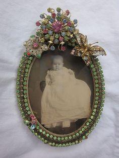 Vintage Rhinestone Jewelry Picture Frame