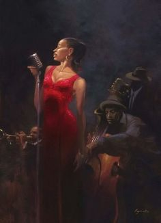 Jazz Singer in Red: by Brent Lynch African American Art, African Art, Black Women Art, Black Art, Musik Illustration, Art Afro, Jazz Art, Creation Photo, Edward Hopper