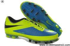 Cheap New Soccer Nike HyperVenom Phatal FG Boots Fluorescent Green Blue  Black Shoes For Sale df48da220c