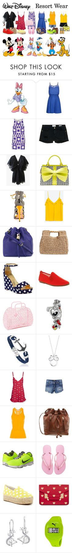 """""""Walt Disney Resort Wear (The Gang)"""" by janastasiagg ❤ liked on Polyvore featuring Disney, RoomMates Decor, Milly, Frame Denim, Betsey Johnson, Schutz, Dolce&Gabbana, San Diego Hat Co., Kate Spade and Flossy"""