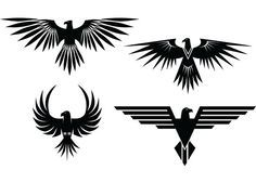 XOO Plate :: 4 Eagle Symbol Tattoo Style Vector Graphics - 4 Eagle symbols with spread wings - tattoo style - in vector Ai and Eps. Thunderbird Tattoo, Native American Tattoos, Native American Symbols, Native American Indians, Native Tattoos, Native American Design, Eagle Tattoos, Symbol Tattoos, Polynesian Tattoos