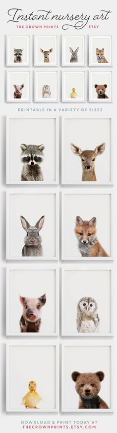 Woodland Animals nursery art - Printable art from TheCrownPrints on Etsy