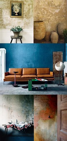 Creative techniques with paint and varnish - 25 ideas for surface design, Despite their exceptional color scheme, smooth, monochrome surfaces can seem too ordinary and boring. Through simple creative techniques with paint an. Distressed Walls, Faux Painted Walls, Rental Decorating, Old Wall, Look Older, Faux Painting, Wall Finishes, Creative Walls, Wall Treatments