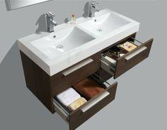€ 799,- Lambini Designs Vegas badmeubel - grey oak - 120x50x60cm - 2 kraangaten incl. spiegel. Ook leverbaar in zwart wengé en hoogglans wit. #wastafel #dubbel #softclose #lades
