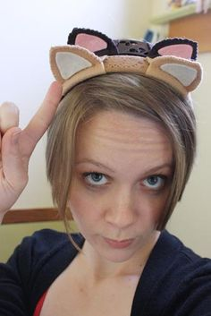 Cat ears, use blue felt, make Happy ears.