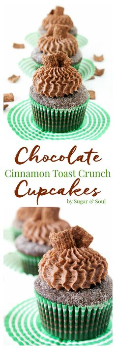 These Chocolate Cinnamon Toast Crunch Cupcakes are everything you loved about childhood rolled up into one! Moist chocolate cake loaded up with cinnamon and topped with a whipped chocolate frosting laced with cereal pieces! #AStockUpSale #Shaws ad