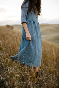 Dresses, with pockets, ethically made in California, with fine European linen. Linen Dresses, Modest Dresses, Classic Outfits, Classic Clothes, California Outfits, Sustainable Fashion, Sustainable Living, Handmade Dresses, Work Wardrobe