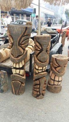 Carving Plus Size plus size nighties Tree Carving, Wood Carving Art, Wood Art, Tiki Man, Tiki Tiki, Tiki Faces, Tiki Statues, Tiki Decor, Tiki Totem