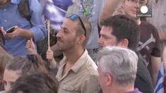 Manifestación en Atenas en favor de la permanencia de Grecia en la Eurozona