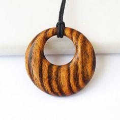 Wooden pendant, Wood necklace, Bocote necklace, Wood pendant, Wooden n