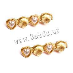 Clips de pico, aleación de zinc, con Perlas plásticas, chapado en color dorado, libre de níquel, plomo & cadmio, 55x15mm, 30PCs/Grupo, Vendido por Grupo,Abalorios de joyería por mayor de China