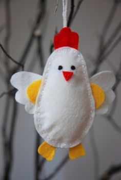 felt chicken -when I do it ,  minus the yellow hands (?)  changing the colours to match our chicken breeds/varieties