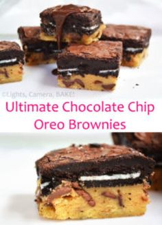The Ultimate Chocolate Chip Oreo Brownies (A.K.A Slutty Brownies). Layers of gooey chocolate chip cookie, Oreos and rich and fudgy brownies. You will definitely want to try these! #sluttybrownies #ultimateoreobrownies #brookies