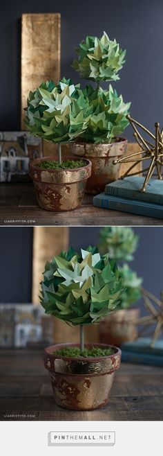 DIY Paper Ivy Topiary - free pattern and tutorial