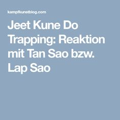 Jeet Kune Do Trapping: Reaktion mit Tan Sao bzw. Lap Sao