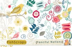Flourishes, Birds & Flowers ~~ Use these gorgeous digital graphics to create items to sell! Create wedding Annoucements, Baby Shower Invitations, Birthday Cards, Etsy or Blog banners, and more. Graphics print wonderfully! Commercial and Personal Use.   You will receive 49 large graphics