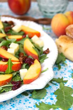 Arugula and Peach Salad with White Cheddar. A perfect Summer Salad.