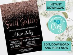 16th Birthday Invitation Sweet Sixteen Invitation #93 | Digital INSTANT DOWNLOAD Editable Invite | Black and Rose Gold Sparkle Glitter by PurplePaperGraphics on Etsy Sweet Sixteen Invitations, Gold Invitations, Printable Invitations, Sixteenth Birthday, 16th Birthday, Kids Birthday Party Invitations, Sweet 16 Parties, Rose Gold Foil, Personalized Wedding