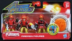 Playskool Adventure Heroes Red Firemen Figures by Hasbro. $9.99. Collect all the Adventure Heroes.. The call comes in and it's time to roll, so put on your badge and race to the rescue.. Includes (3) Firemen Figures and (1) badge.. Playskool Adventure Heroes Firemen Figures. For ages 3yrs & up.. fireman action figures