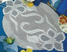Crocheted Table Runner Two Flowers by LaisviakCrochet on Etsy, $55.40