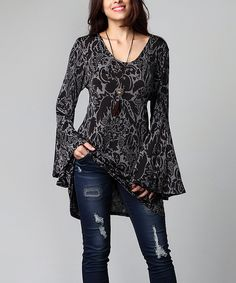 Another great find on #zulily! Charcoal Floral Bell-Sleeve Tunic - Plus by Reborn Collection #zulilyfinds
