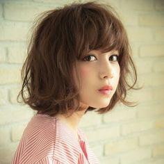 フワフワ Shot Hair Styles, Curly Hair Styles, Natural Hair Styles, Permed Hairstyles, Cool Hairstyles, Bob Haircut With Bangs, Girls Short Haircuts, Hair Arrange, Asian Hair
