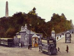 junction of city tram with Lucan tram at Phoenix Park entrance. Old Photos, Vintage Photos, Irish Independence, Gone Days, Ireland Pictures, Photo Engraving, Emerald Isle, Dublin, Paths