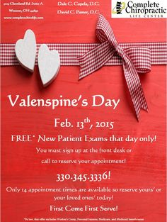 Valenspines' Patient Appreciation Day! Friday, Feb. 13th! Celebrate Valentines with healthy spines! Call 330.345.3336 to get your loved ones checked! #completechirolife