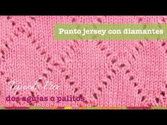 Punto jersey con rombos o diamantes tejido en dos agujas o palitos - YouTube Lace Knitting Stitches, Baby Knitting, Knitting Patterns, Crochet Patterns, Knitted Afghans, Knitted Blankets, Knitting Videos, Crochet Videos, Crochet Symbols