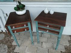 I love to pair up mismatched tables and paint them to be a pair. These antique maple tables have been painted in Evening (muted teal), tops and drawer fronts stained in Dark Walnut. Modern Vintage