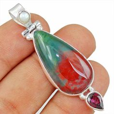 Blood Stone & Amethyst 925 Sterling Silver Pendant Allison Co Jewelry Sp-1891 #Allisonsilverco