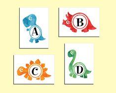 Dinosaur alphabet prints. Set of 4 prints 5x7. Nursery prints. Instant download printable. PDF diy digital wall art.Kids bedroom print. Dinosaur Alphabet, Alphabet Print, Bedroom Prints, Nursery Prints, Digital Wall, Kids Prints, Own Home, Kids Bedroom, Playroom