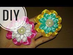 DIY    Cara Membuat Bros Bunga    Kanzashi Flower 12  - YouTube