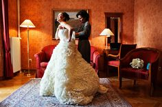Bride getting ready, putting on gorgeous Vera Wang wedding dress, Grand Hotel Toplice, Bled, Slovenia www.samorovan.com