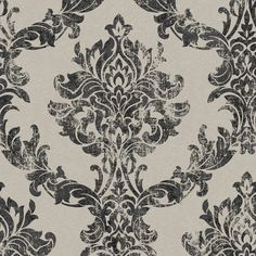 Opal Damask Wallpaper in Charcoal and Gold from the Surface Collection... ($85) ❤ liked on Polyvore featuring home, home decor, wallpaper, wallpaper samples, damask home decor, dark grey wallpaper, gold home accessories, metallic wallpaper and textured wallpaper