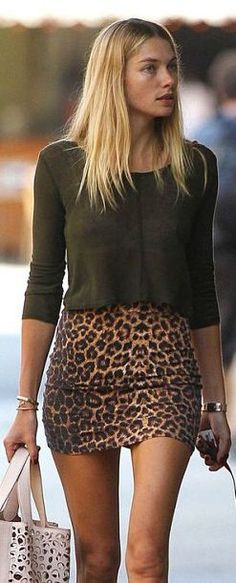 Jessica Hart Street Style # dark green lose knitted top with tight leopard skirt