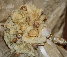 Ivory real touch cream roses Bridal Bouquet by SilkFlowersByJean, $80.00 Like Silk Flowers By Jean on Facebook and receive $30 off your bridal package and a free toss bouquet.