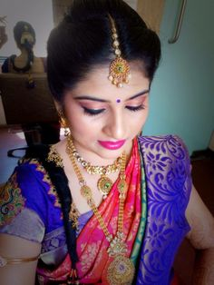 Traditional Southern Indian bride wearing bridal hair, saree and jewellery. Engagement look. Makeup by Swank Studio. Find us at https://www.facebook.com/SwankStudioBangalore