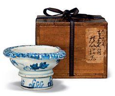 A blue and white trefoil ko-sometsuke stem bowl, Tianqi period (1621-1627)