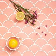These juicy are gearing us up for May! What colors are giving you springtime inspiration? Mermaid Tile, Fish Scale Tile, Pink Tiles, Mosaic Tiles, Mosaics, Tiles Online, Bakery Design, Fish Scales, Handmade Tiles