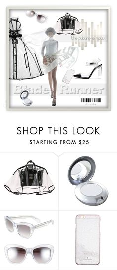 """""""Blade Runner"""" by ultracake ❤ liked on Polyvore featuring Burberry, Tweezerman, Oliver Peoples, Kate Spade, clear, seethrough, ultracake and Seethru"""