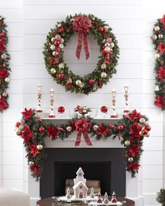 Traditional Red Christmas Mantel
