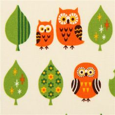 white oxford owl fabric with leaves by Cosmo from Japan #owl