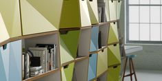 Faceted Designs That Add Origami Flair To The Décor Built In Furniture, Modern Furniture, Furniture Design, System Furniture, Origami, Office Interior Design, Office Interiors, Wood Design, Diy Design